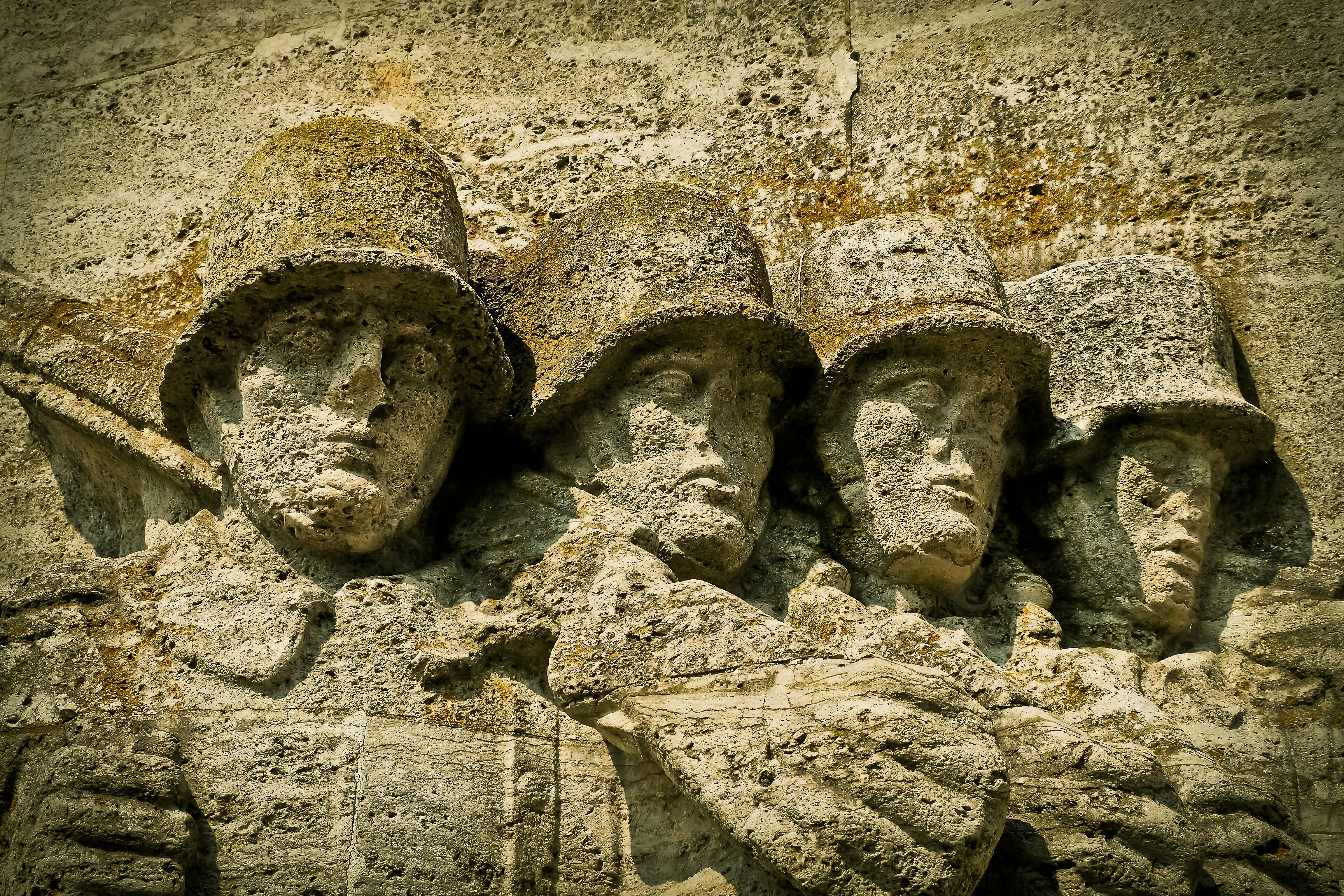 Four Soldier Stone Carved