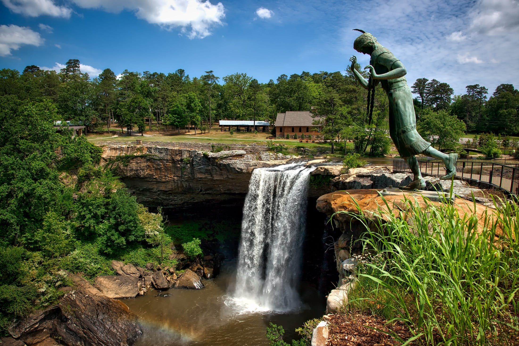 Waterfall Near Green Trees