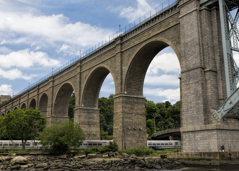 Free stock photo of landmark, rocks, bridge, train