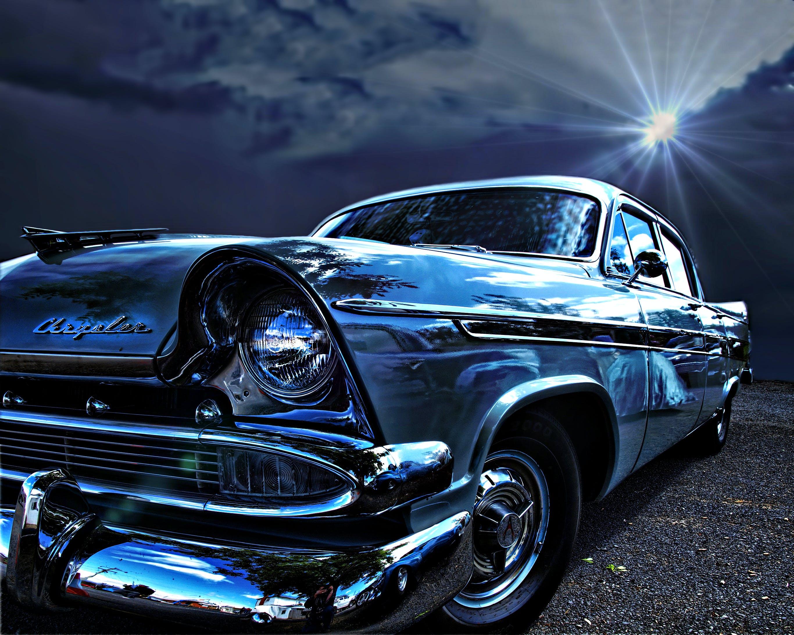 Free stock photo of blue, car, chrysler, vintage