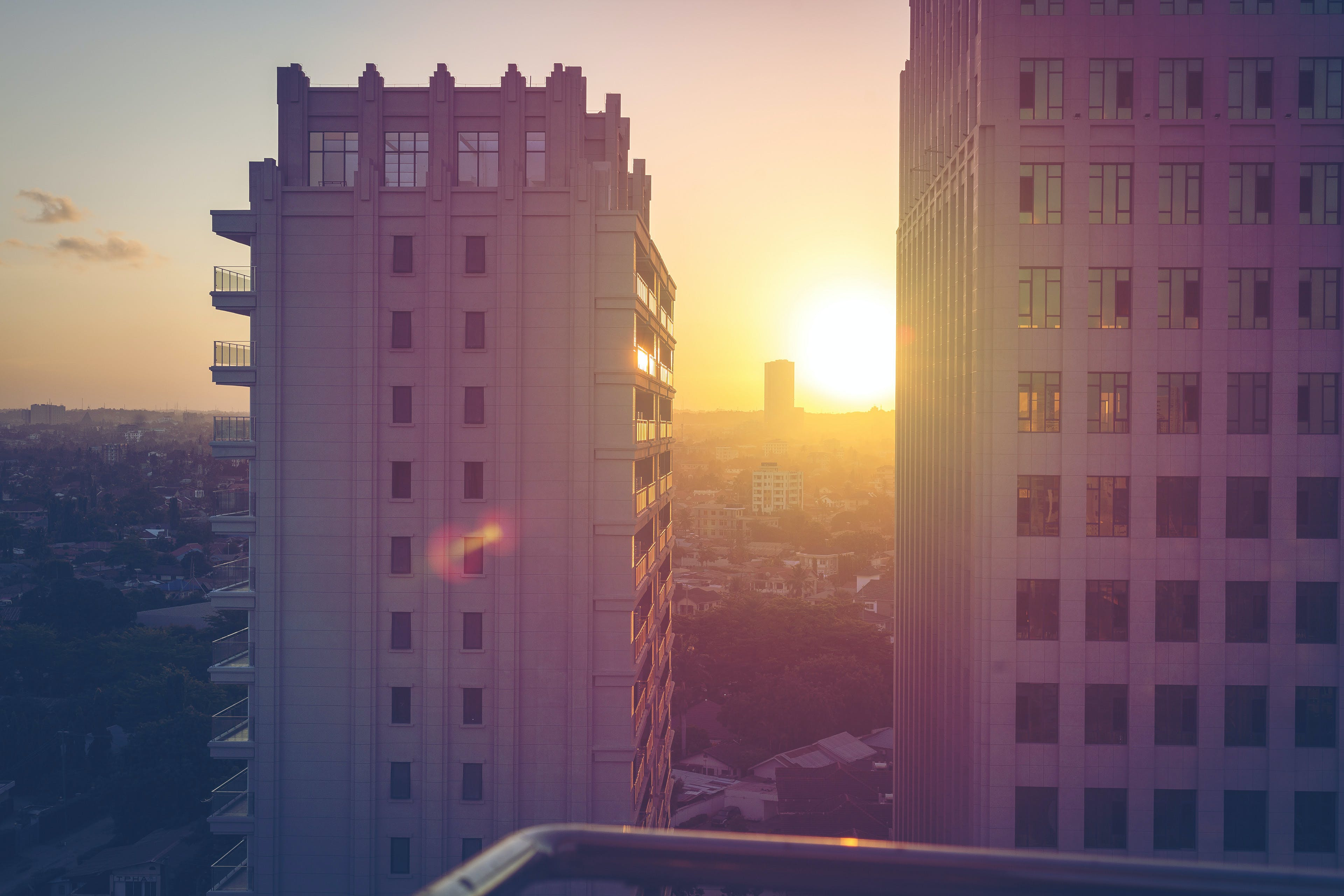Free stock photo of africa, apartment building, Blue shade, golden hour