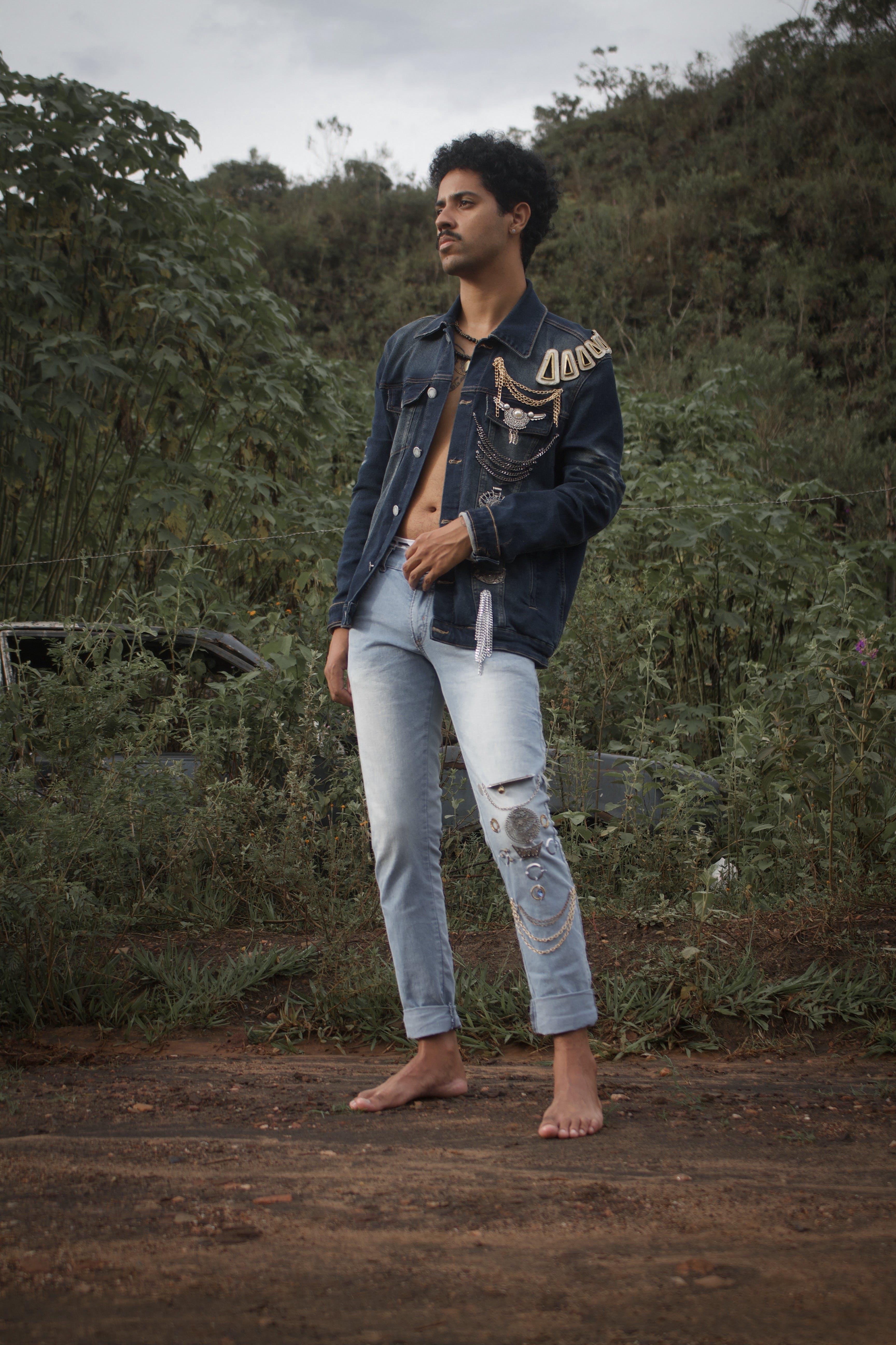 Kostnadsfri bild av denim byxor, ha på sig, jeansjacka, man