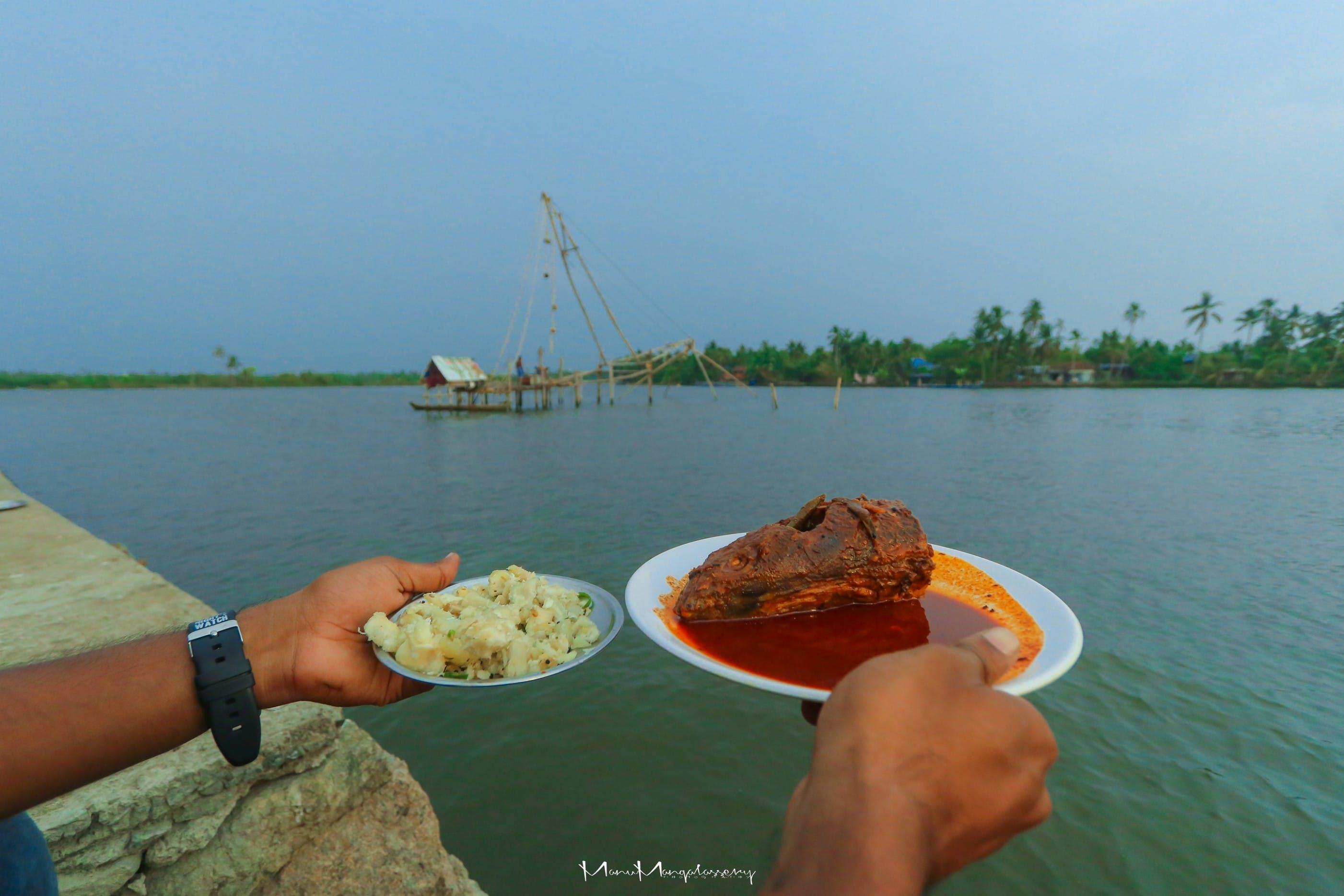Free stock photo of backwaters, fish curry, Kappa