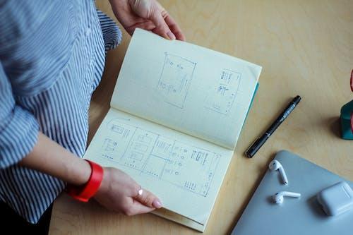Photos gratuites de à l'intérieur, boîtier, cahier, dessiner