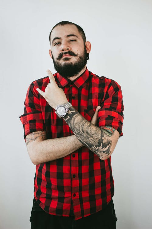 Unknown Celebrity Wearing Red and Black Plaid Button-up Sport Shirt