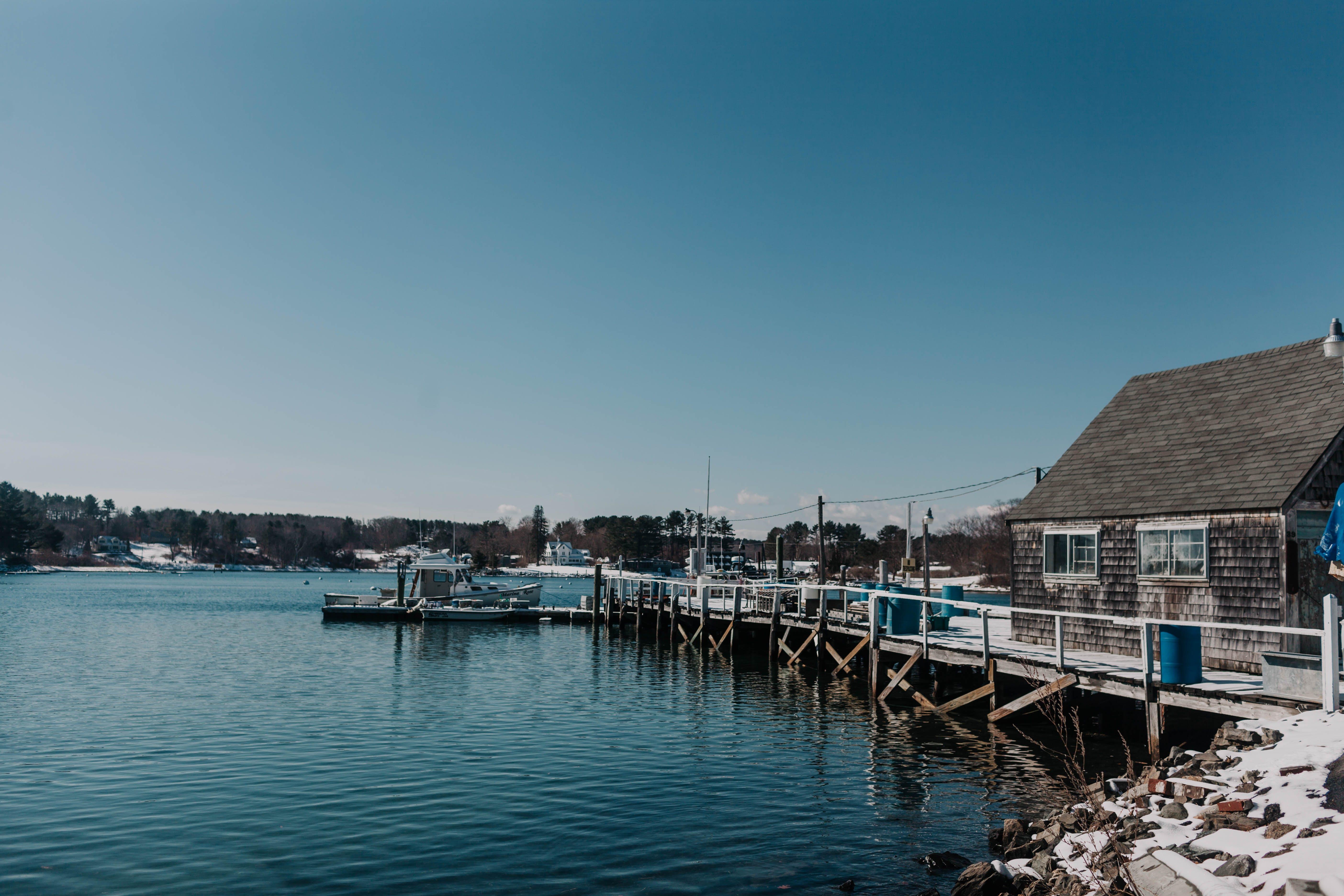 Безкоштовне стокове фото на тему «maine, док, зима, містечко»