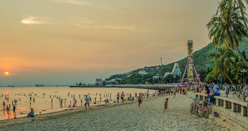 Photos gratuites de côtier, coucher de soleil, gens, mer