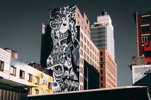 Black And White Graffiti Painted Building