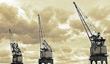 clouds, cranes, industry