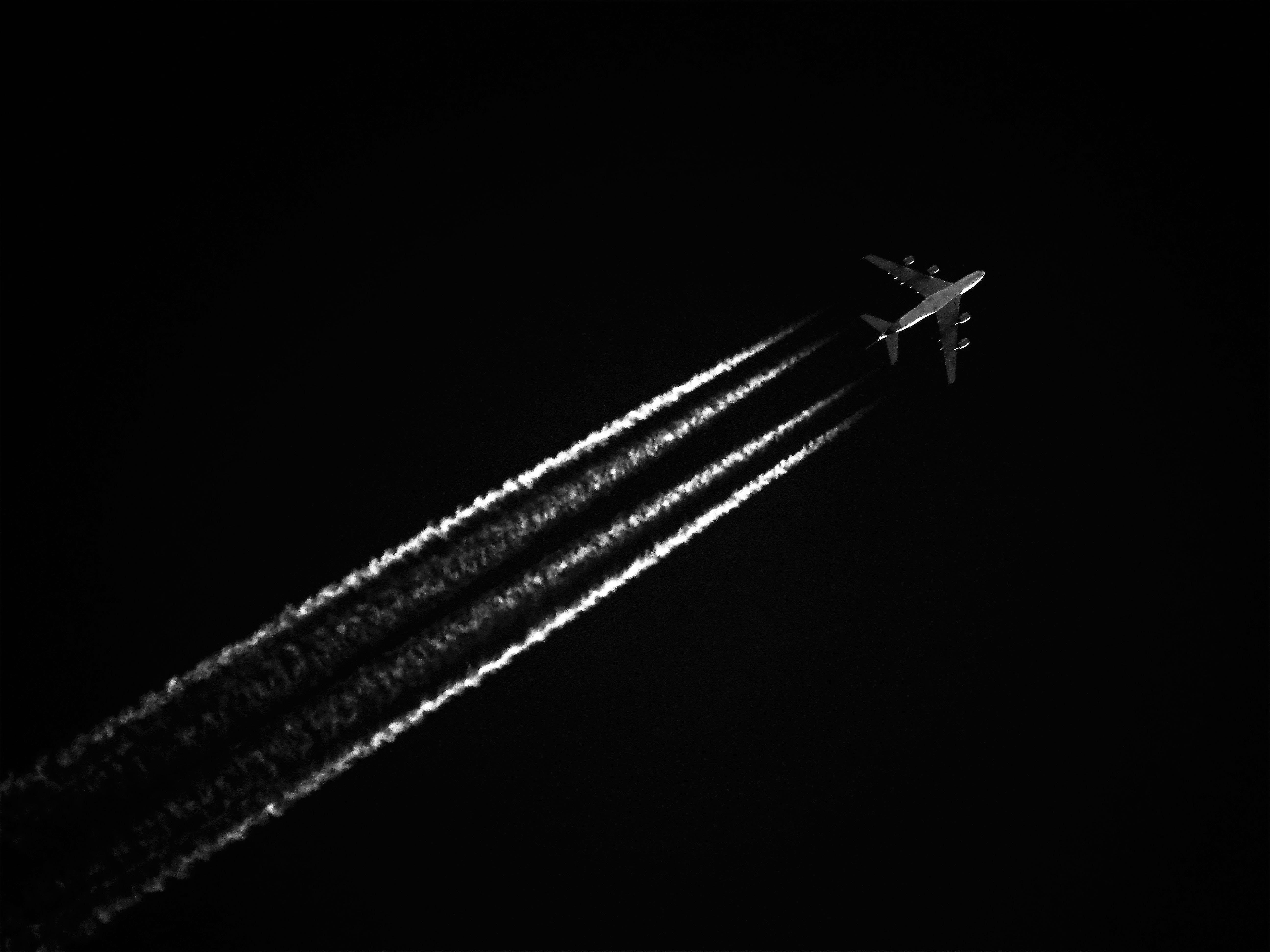 블랙 앤 화이트, 비행, 비행기, 비행운의 무료 스톡 사진