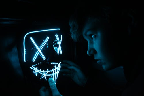 Free stock photo of blue, dark, light, mask