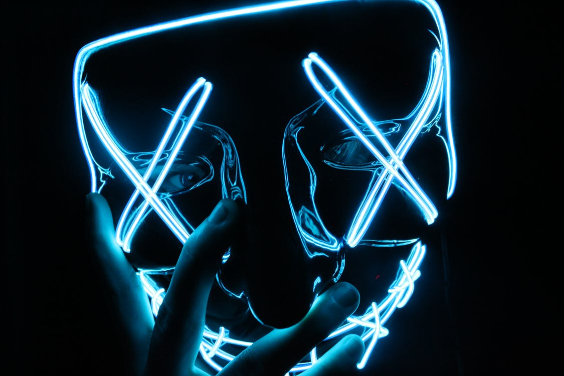 Person Wearing Lighted Blue Led Mask