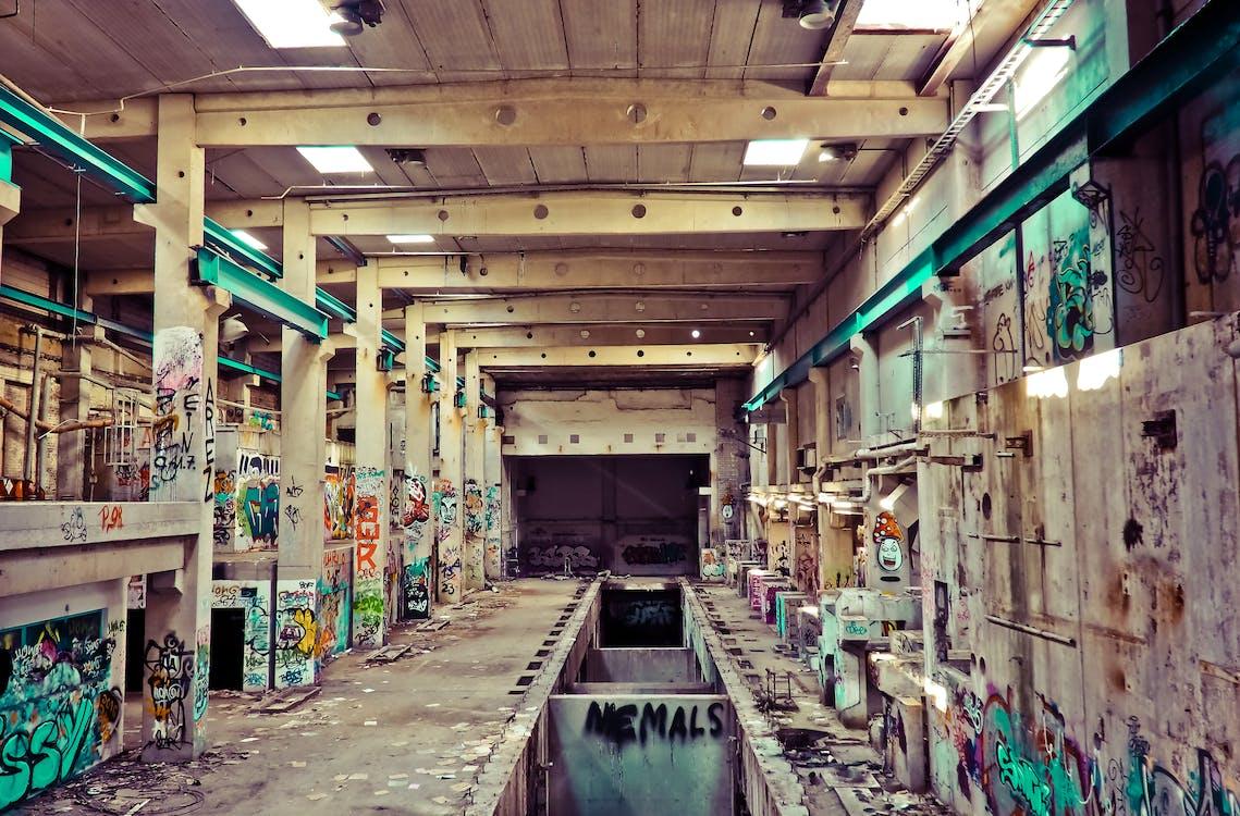 beltéri, beton, elhagyatott