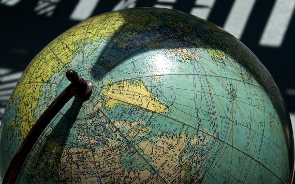 guľa, kontinent, mapa
