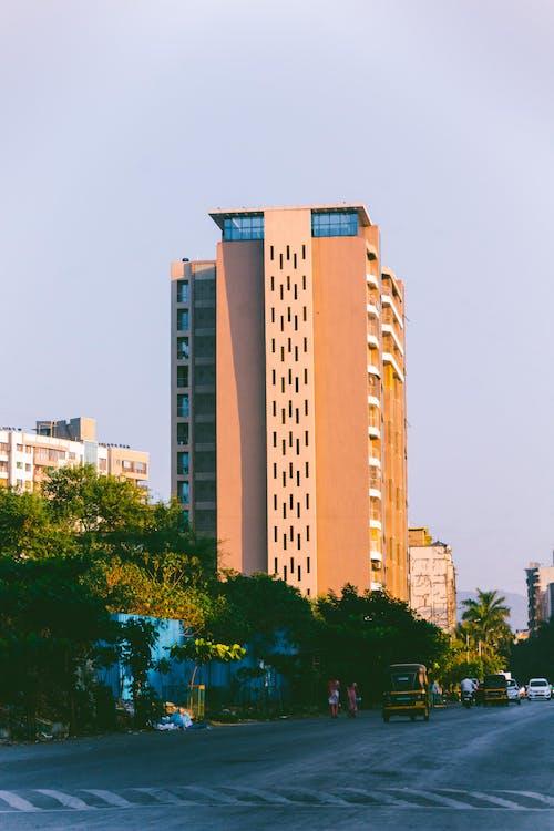 Edificio In Cemento Marrone E Bianco Vicino Agli Alberi