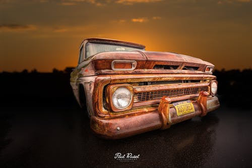 Free stock photo of classic, oldschool, ratrod, sunset