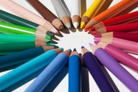 creative, desk, pens