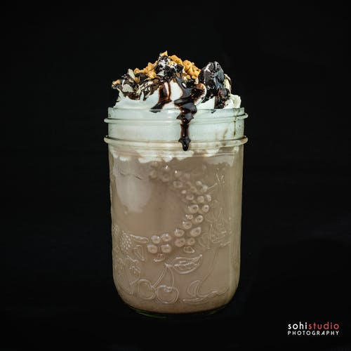 Free stock photo of alcoholic drink, black background, Chocolate Milkshake, Chocolate Sauce