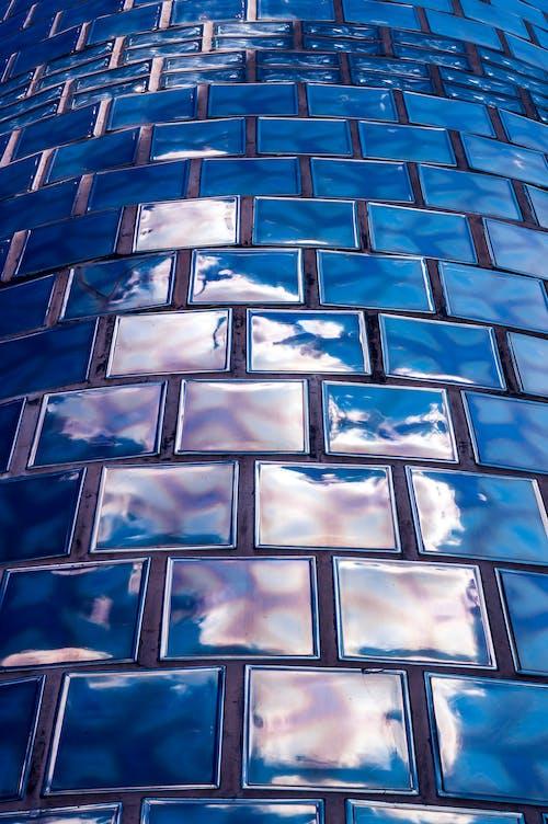 Superficie Piastrellata In Ceramica Blu Quadrata