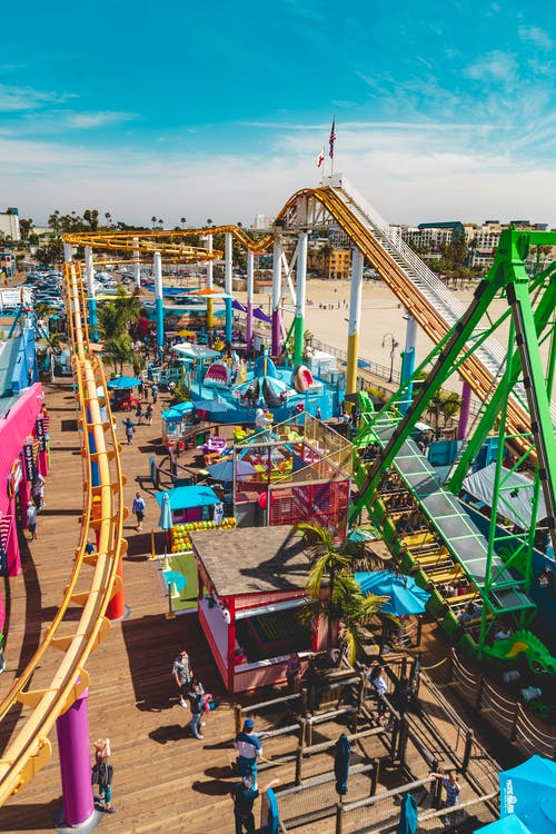 Free stock photo of amusement park, blue sky, california