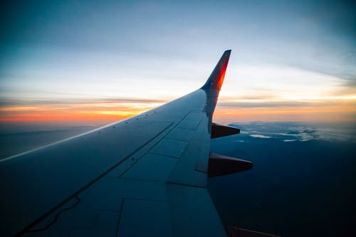 Free stock photo of aircraft, aircraft wing, blue