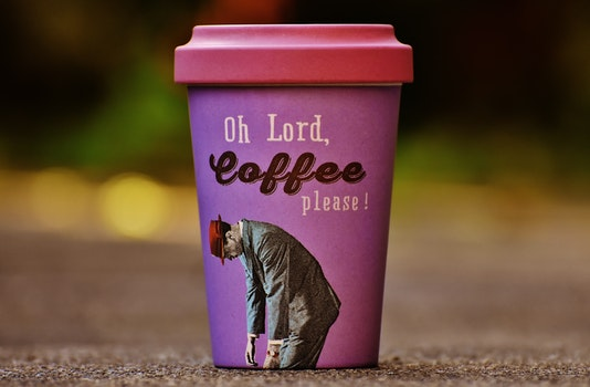 Oh Lord Coffee Please Purple and Pink Cup