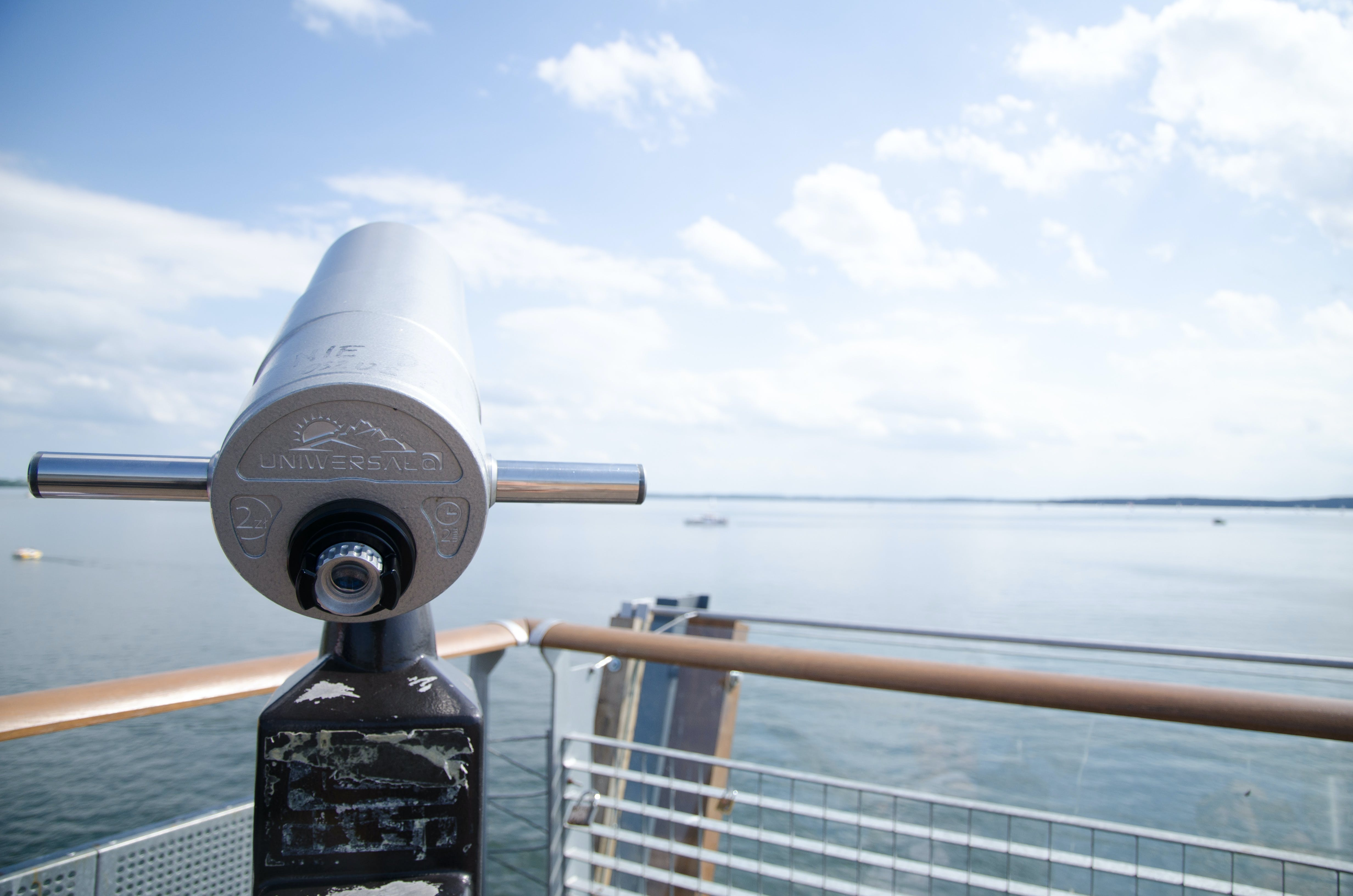 binoculars, bridge, clouds