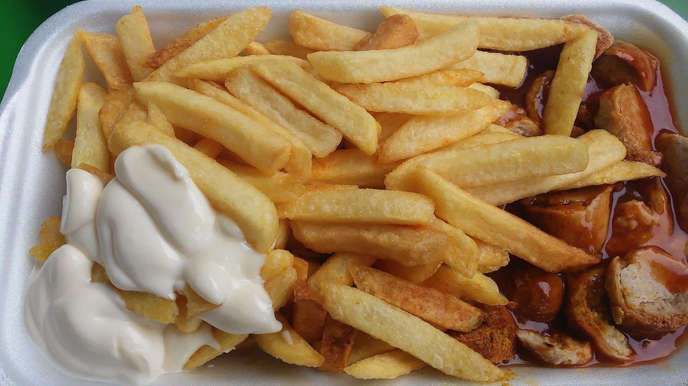 Free stock photo of meal, potatoes, fat, macro