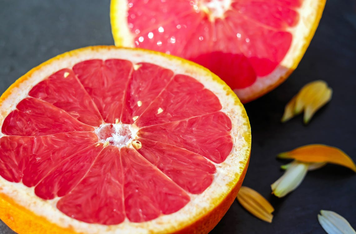 čerstvý, červená, citron