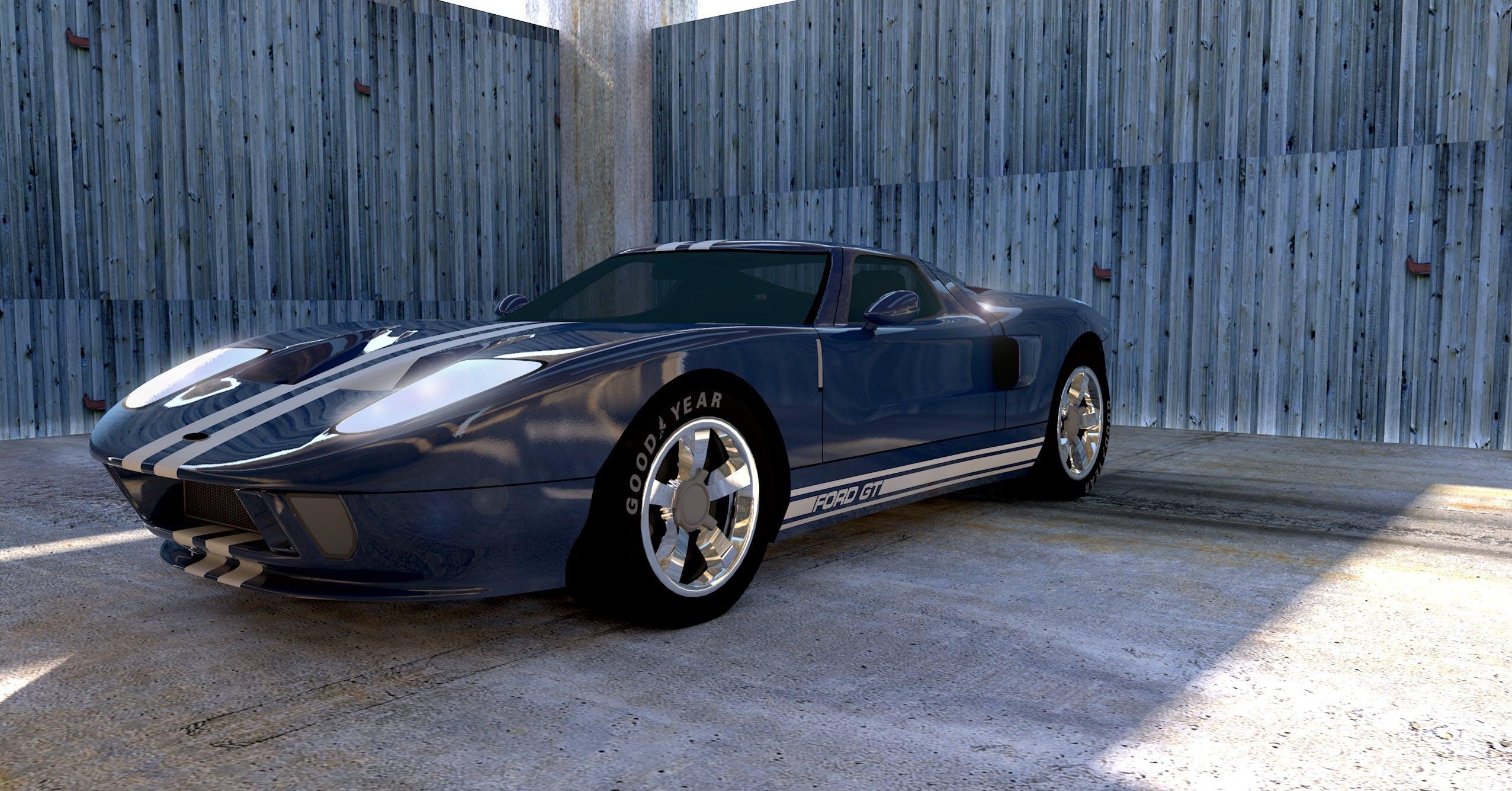 Blue Sport Car in Garage