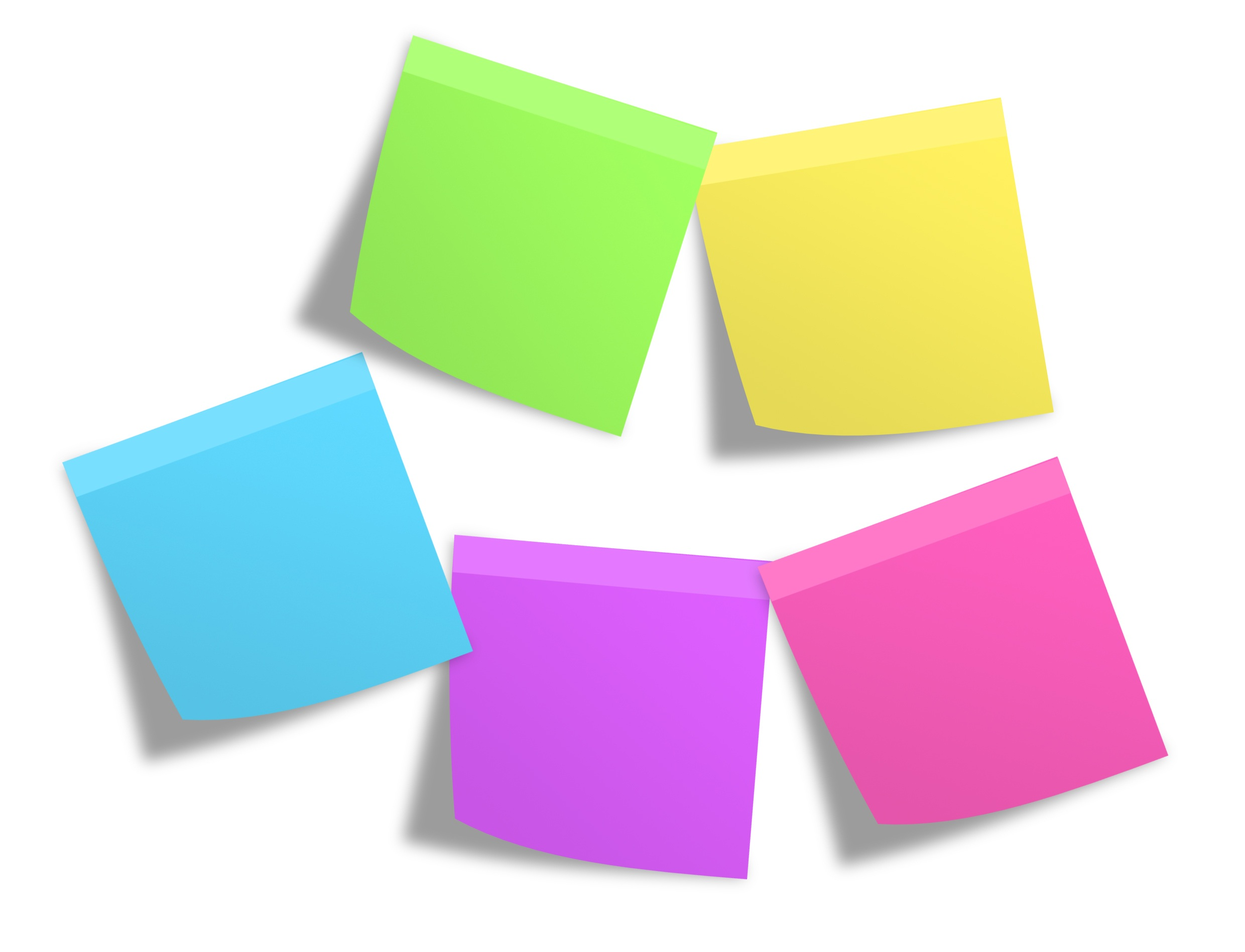 Pink Green Yellow Blue and Purple Sticky Note Mounted on White Painted Wall