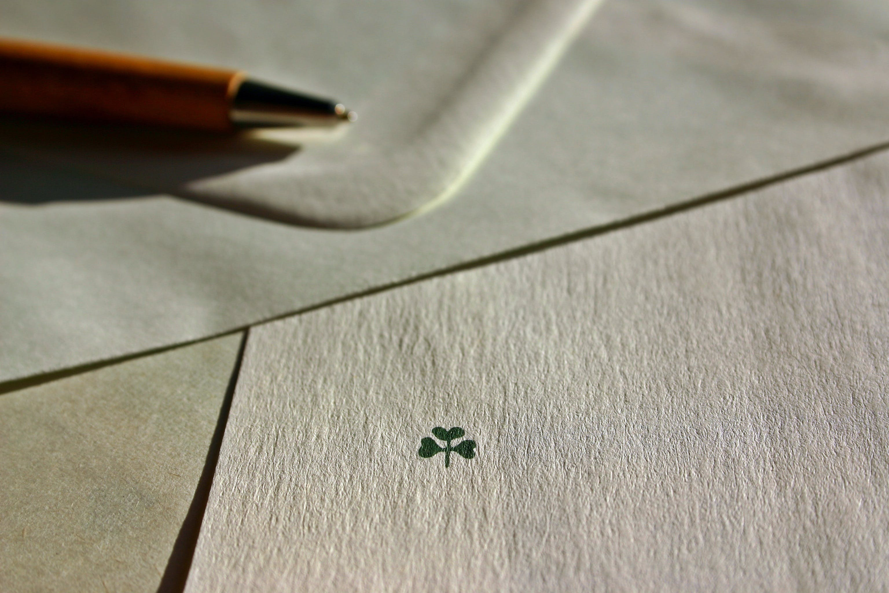 Free stock photo of pen, luck, paper, symbol