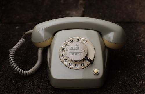 Gray Rotary Telephone