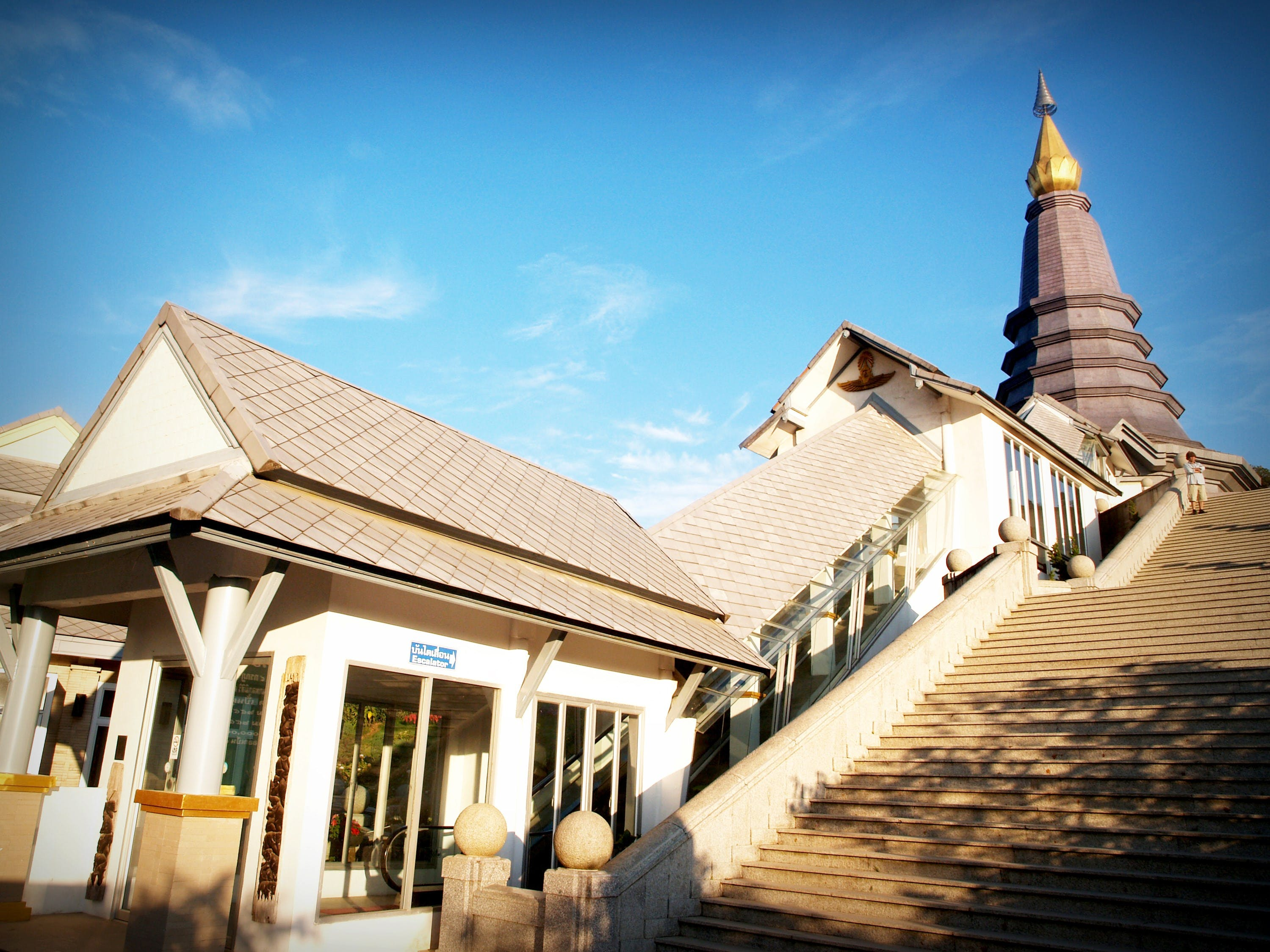 Beige and White Temple Beside Stairs