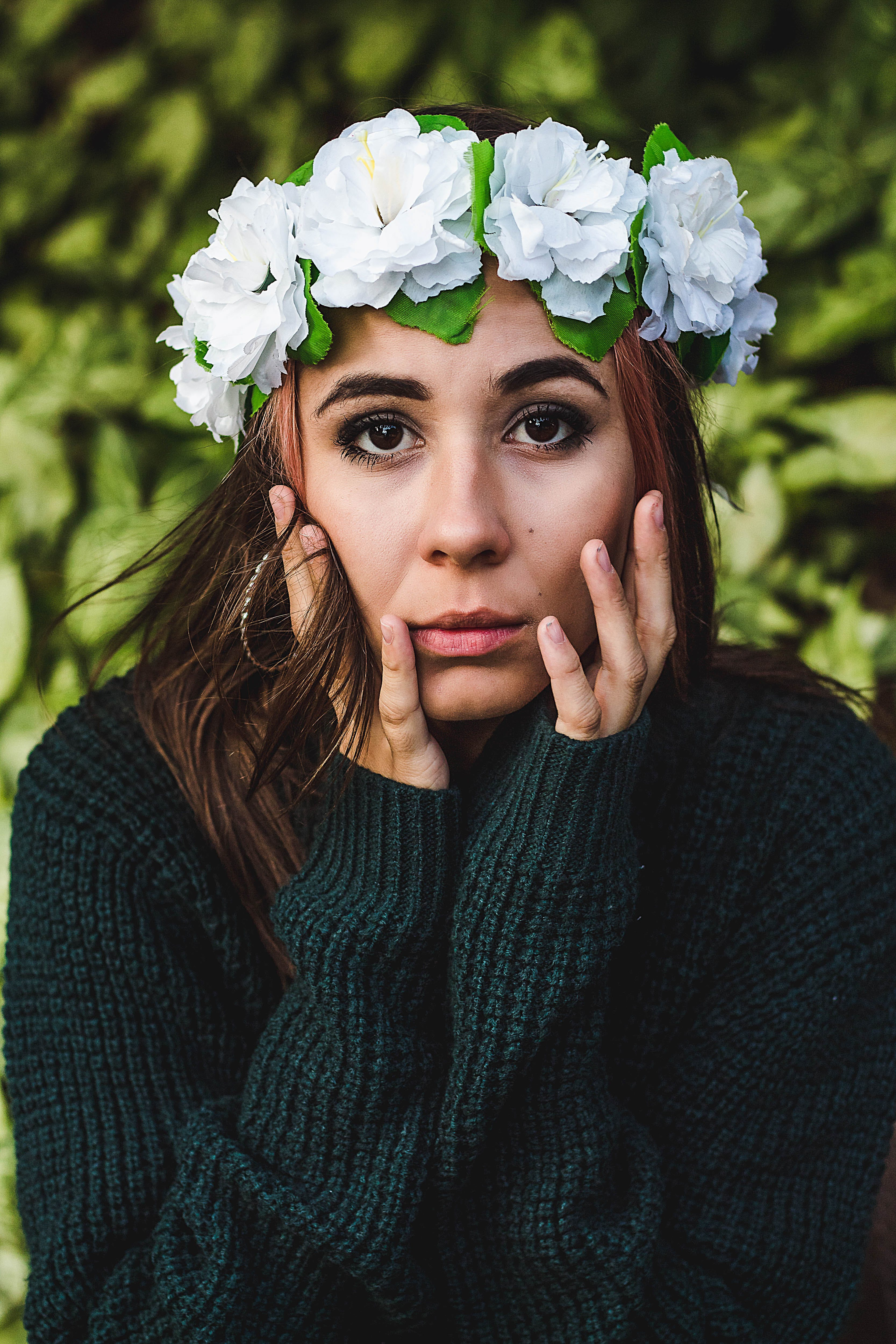 Shallow Focus Photo Of Woman In Green Sweater