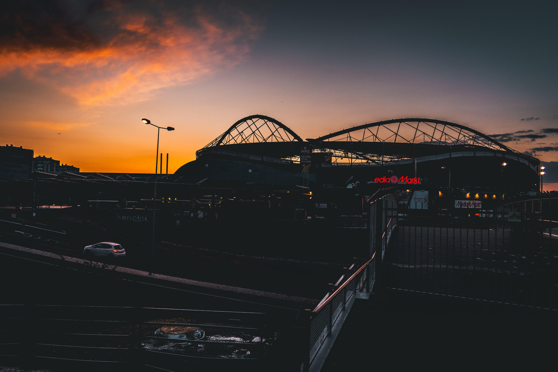 Free stock photo of football, football stadium, golden sun, landscape