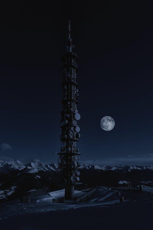 Kostnadsfri bild av arkitektur, celltornet, fullmåne, himmel