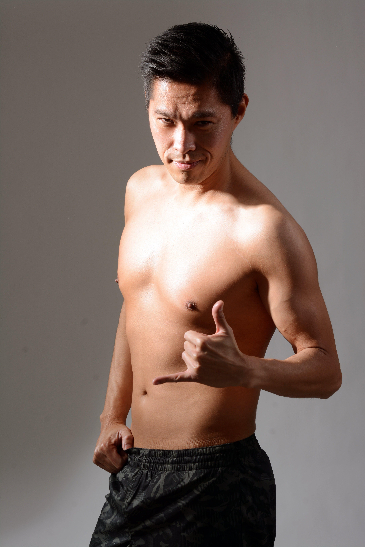 asiatisk, bar overkrop, fitness