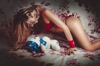girl, bed, model