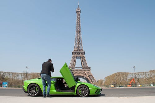 Free stock photo of eiffel tower, Lamborghini, luxury car, paris