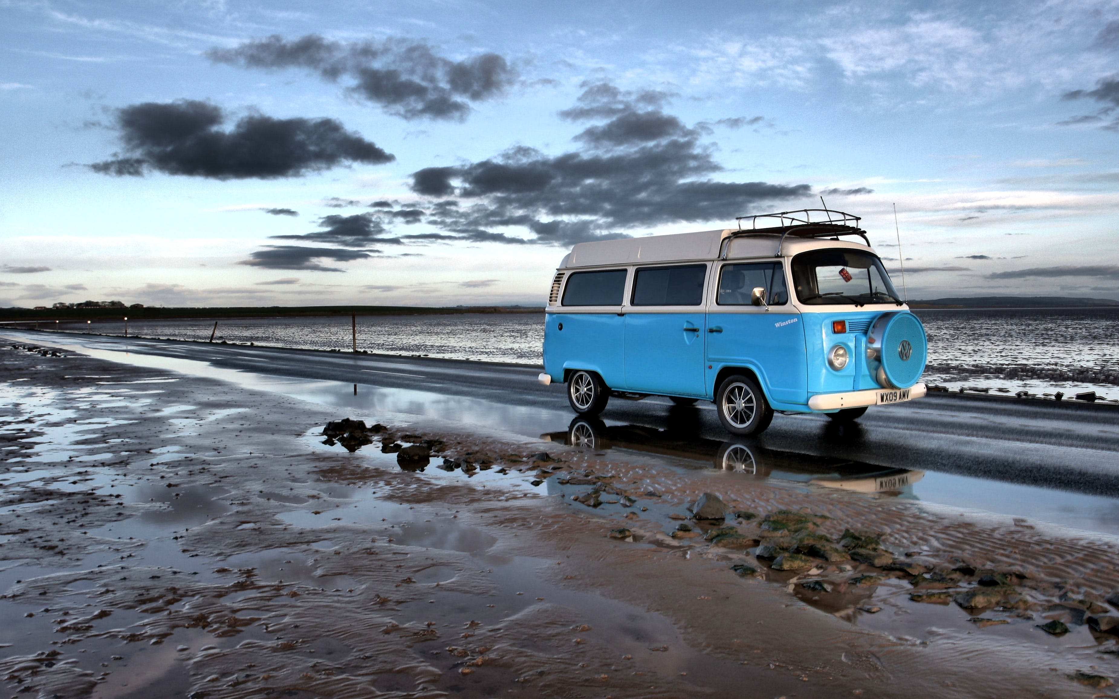 beach, campervan, drive