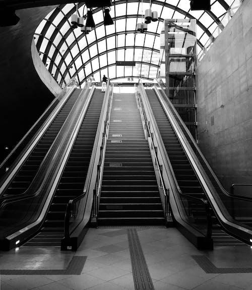 Photos gratuites de à l'intérieur, architecture, escalators, noir et blanc
