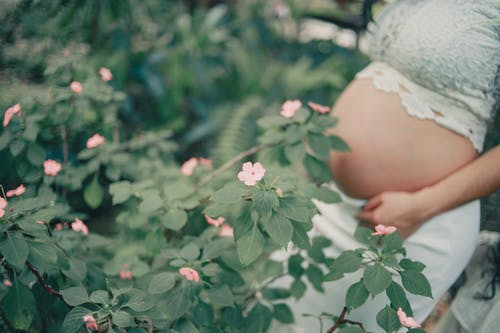 Pregnant Standing Near the Flower