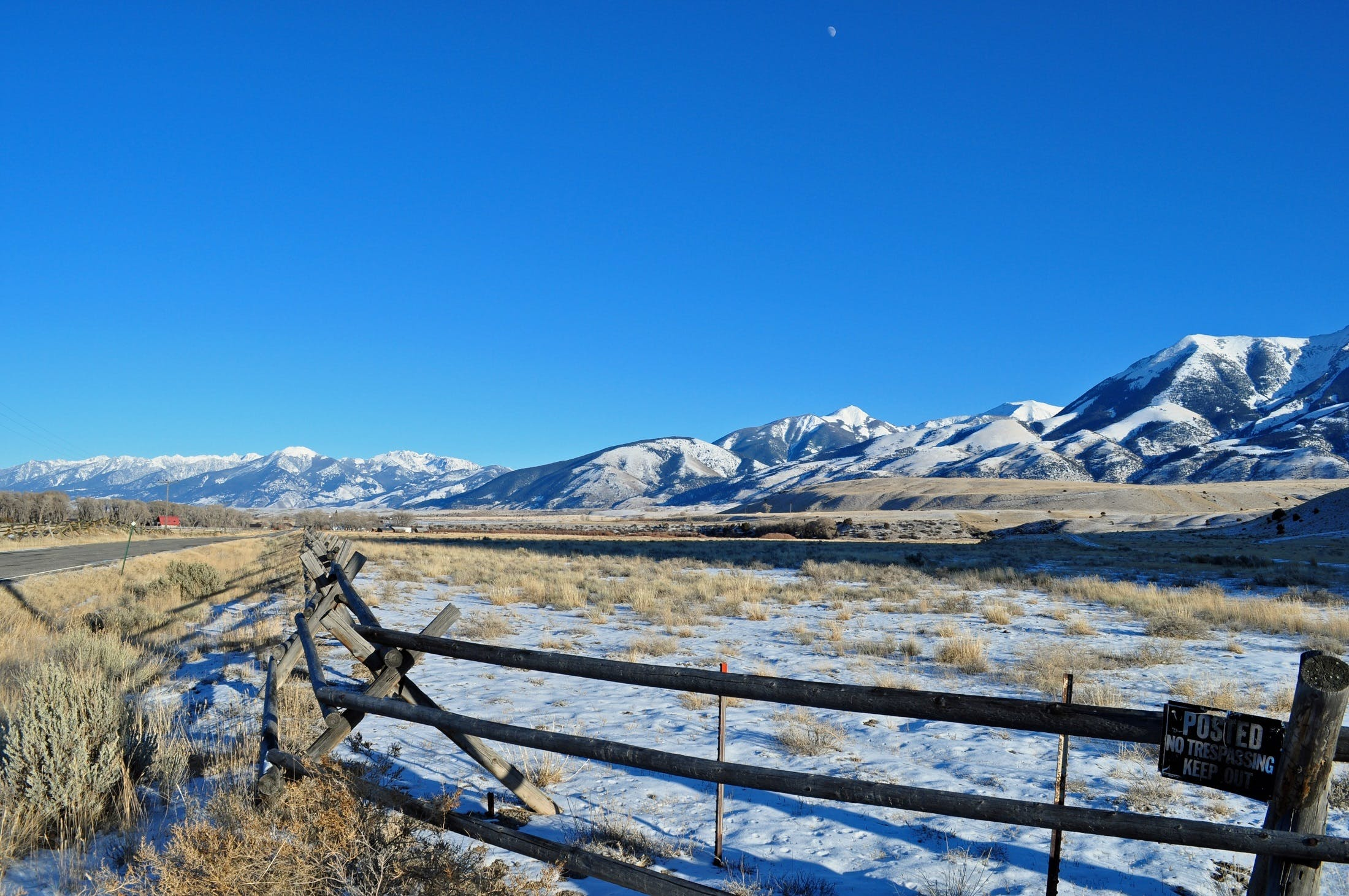 Brown Wooden Fence in Mountain Range