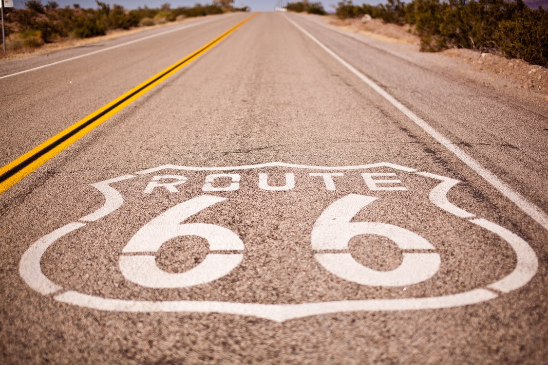 Route 66 Stampato Su Strada