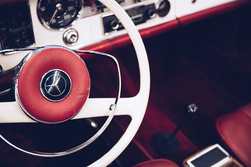 Red and White Steering Wheel