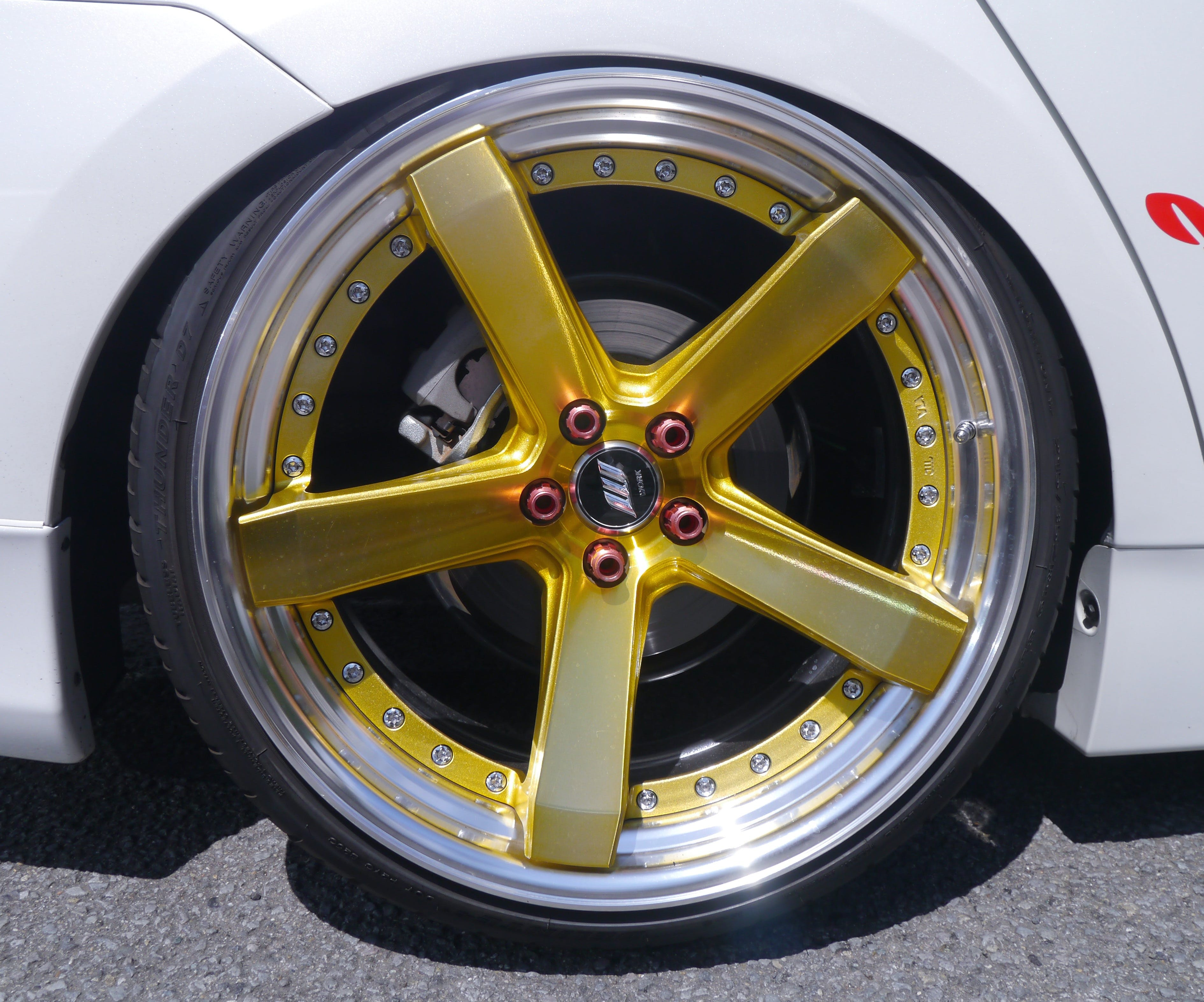 Yellow 5 Spoke Car Wheel