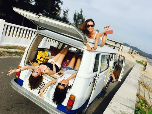Women Inside A Van