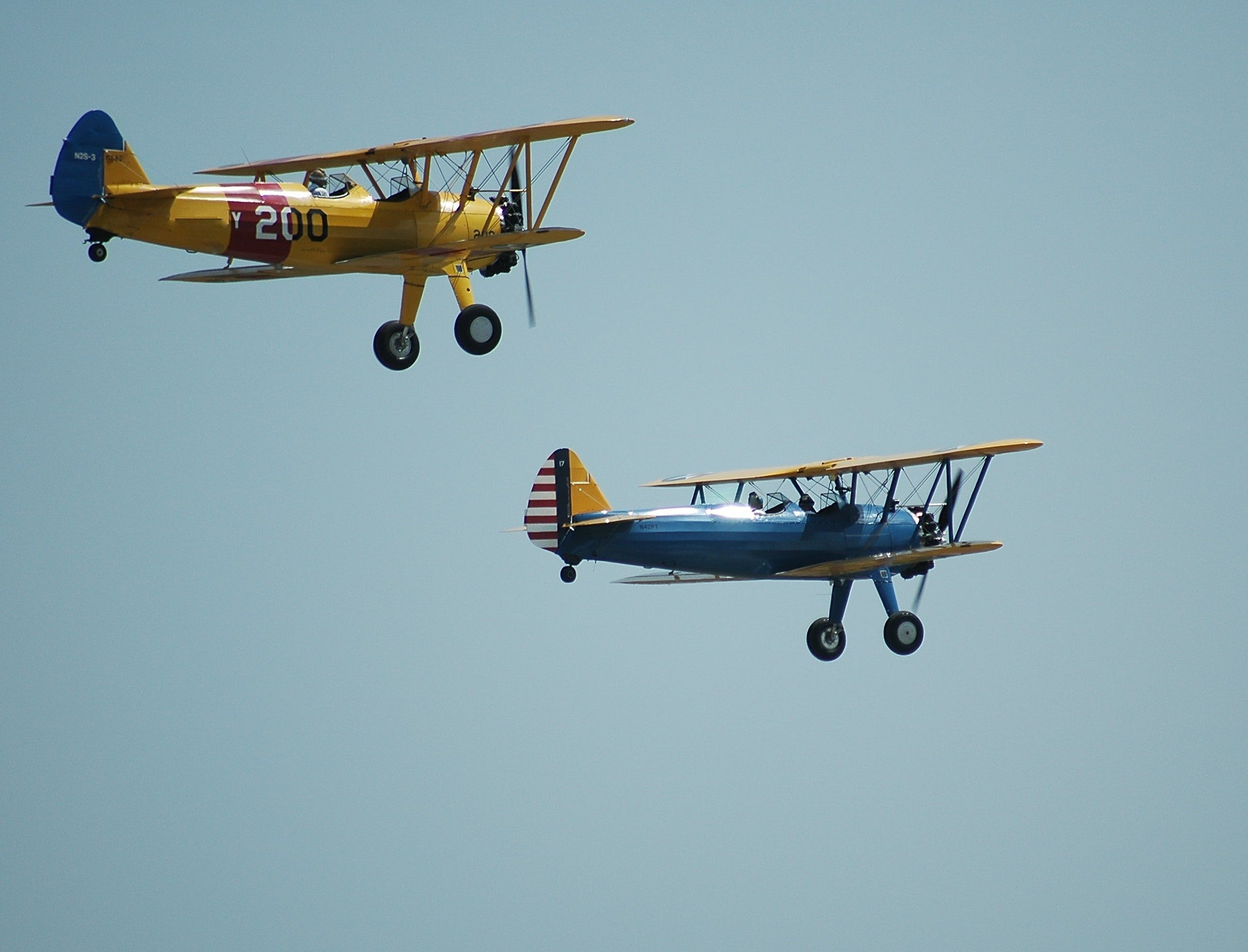 2 Biplanes Flying