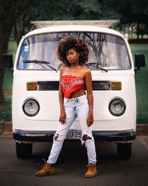 Woman In Front Of A Van